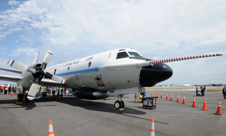 Fort Lauderdale, USA - May 6, 2011: US Government Hurricane Hunter airplane prepares for the summer storm season in Florida. The public tours the airplane during an open door event.