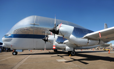 Houston, USA - November 1, 2009: NASA Super Guppy airplane side view. The Super Guppy is used to transport large and heavy cargo for the space program.