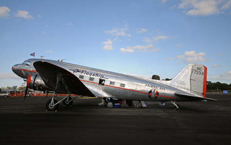 american airlines: Stuart, USA - November 12, 2011: Flgaship Detroit, the oldest flying DC-3 airplane visits Stuart, Florida. The one of a kind aircraft is restored and sponsored by American Airlines