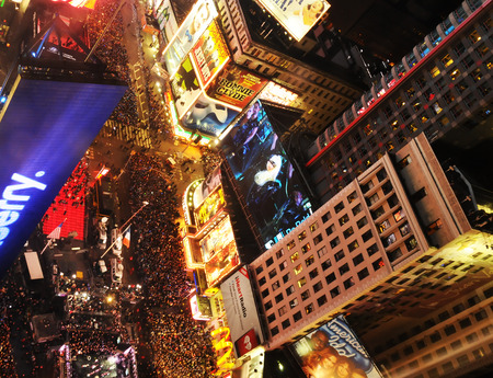 times square: New York, USA - December 31, 2011: Crowds gather to celebrate New Years Eve in New Yorks Citys Time Square on December 31, 2011 Editorial