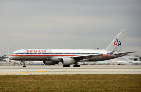 Miami, USA - January 29, 2011: American Airlines passenger jet departing Miami International Airport. Miami is a major hub for American. Editorial