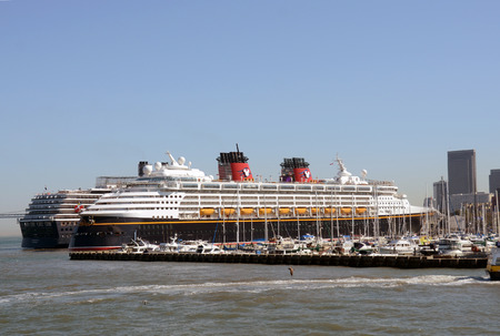 winder: SAN FRANCISCO - OCTOBER 2: Disney Wonder cruise ship visits San Francisco, California on Octiber 2, 2012. The liner is preparing to reposition to the Caribbean for the winder