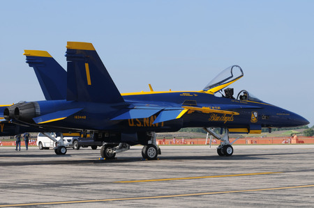 f18: Detroit, USA - July 24, 2011: The Blue Angels visit Willow Run airport near Detroit before a local airshow. US Navy Blue Angels No.1 airplane resting before flight. Editorial