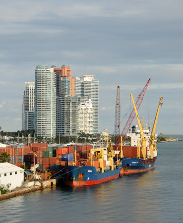 Miami, USA - December 6, 2008: Cago ship loading and unloading at the Port of Miami. The port is one of the busiest cargo hubs in the world.