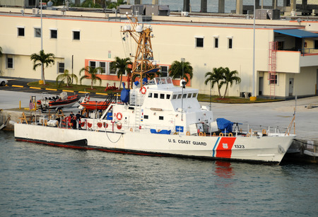 guard ship: Miami, USA - December 6, 2008: US Coast Guard Cutter Drummond in its home port of Miami, Florida. The US Coast Guard operates a number of vessels out of Miami for patrol and border enforcement.