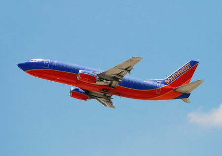 Fort Lauderdale, USA - June 3, 2007: Southwest Airlines passenger jet airplane departing from Fort Lauderdale Hollywood International Airport. Southwest is the largest domestic carrier in the USA. Stock Photo - 35911956