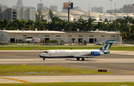 Fort Lauderdale, USA - August 26, 2011: Ait Tran Boeing 717 passenger jet departing Fort Lauderdale Hollywood International Airport. The airline is a major low cost carrier centered in Atlanta