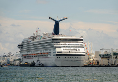 Miami,USA - September 11, 2011: Carnival Valor preparing to leave the Port of Miami on a Caribbean cruise Editorial