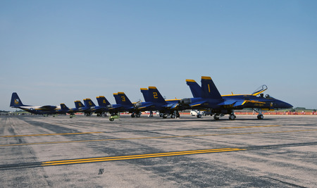 Detroit, USA - July 24, 2011: Blue Angels aerobatic team from the US Navy arrive in Detroit for the annual airshow. Editorial