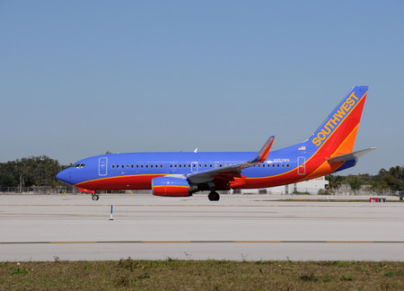 Fort Lauderdale, USA - January 29, 2011: Southwest Boeing 737 passenger jet departing Fort Lauderdale Hollywood International Airport. Southwest is a major carrier at Fort Lauderdales airport Editorial
