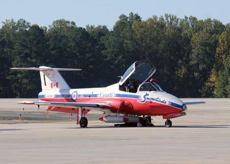 avion de chasse: Atlanta, États-Unis - le 17 Octobre 2010: Membre de l'équipe de voltige des Snowbirds canadiens arrivent à Atlanta pour un spectacle aérien. Les Snowbirds représentent les pilotes militaires canadiens les plus qualifiés