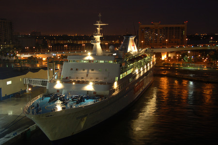 Fort Lauderdale, USA - December 16, 2006: SeaEscape casino boat docked at port Everglades. SeaEscape operated a casino ship which eventually went bankrupt Sajtókép