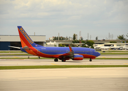 Fort Lauderdale, USA - June 4, 2012: Southwest Airlines Boeing 737 passenger jet departs from Fort Lauderdales International Airport. Southwest is the largest low cost carrier in the USA. Editorial
