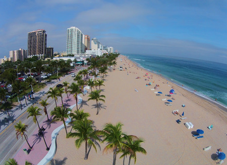 fort lauderdale: Aerial view of Fort Lauderdale Beach Florida facing north Stock Photo
