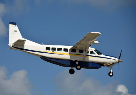 turboprop: Modern turboprop airplane in flight side view