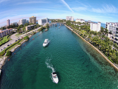 recreational boat: Aerial view of boating inlet in Boca Raton, Florida