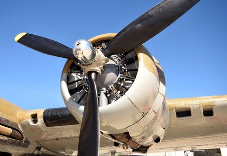 world war 2: World War 2 era bomber closeup view of propeller