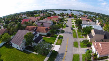 aerial: Suburban street in Florida seen in aerial view