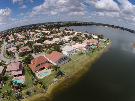 suburban: Middle class waterfront homes in Florida seen from above