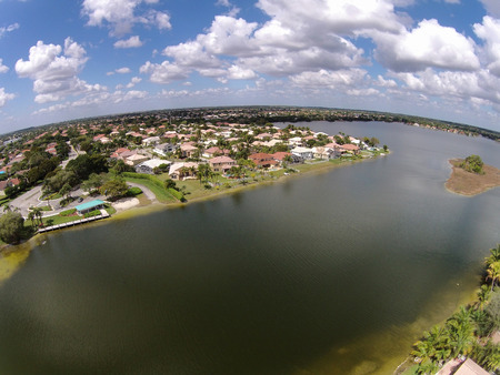 waterfront property: Homes on a lake in Florida seen from above Editorial