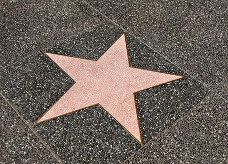 fame: Blank walk of fame star on dark sidewalk