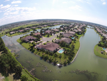 lake house: Waterfront homes in Florida seen from above Editorial