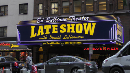 NEW YORK - MAY 12: CBS Late Night Show with david Letterman greets pedestrians on 53rd St in New York City on May 12, 2015. Lettermans last year on the show will be 2015
