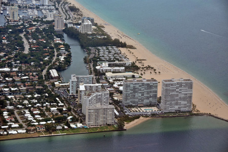 port everglades: Fort Lauderdale Beach near Port Everglades aerial view