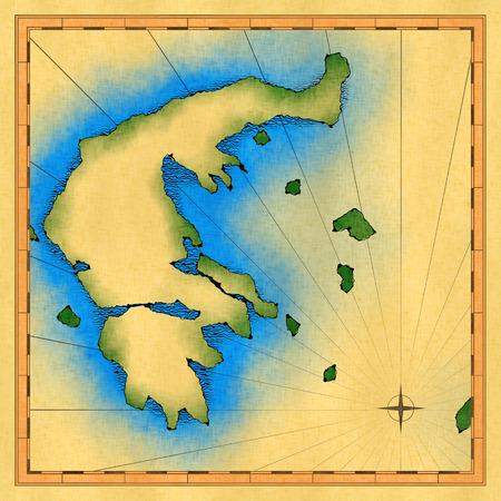 Oude kaart van Griekenland op vierkant canvas