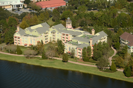 timeshare: Waterfront timeshare building in Orlando Florida seen from above