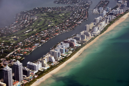 south beach: South Florida coastline and beach seen from high altitude