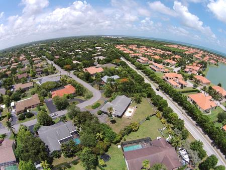 suburban: Suburban real estate in Miami, Florida seen from above Stock Photo