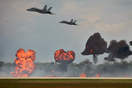 bombardment: Modern jetfighters ob a bombing mission