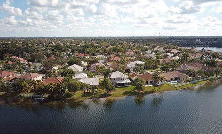 Waterfront real estate in suburban Florida aerial view Stock fotó