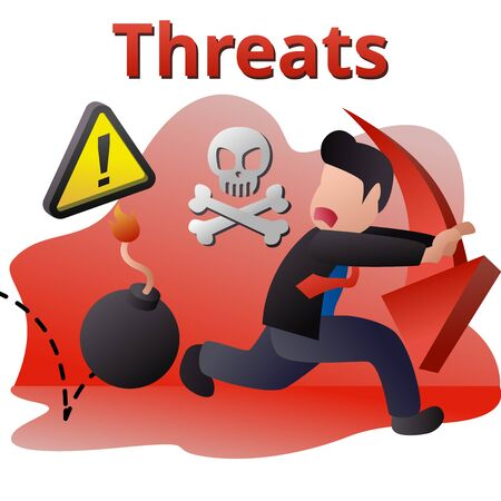 illustration of strengths weaknesses opportunities threats fit to people who running from bomb that explode any time