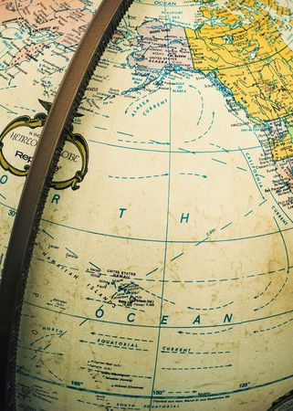 Vintage political Earth globe showing Pacific Ocean and parts of North America and East Asia Stok Fotoğraf