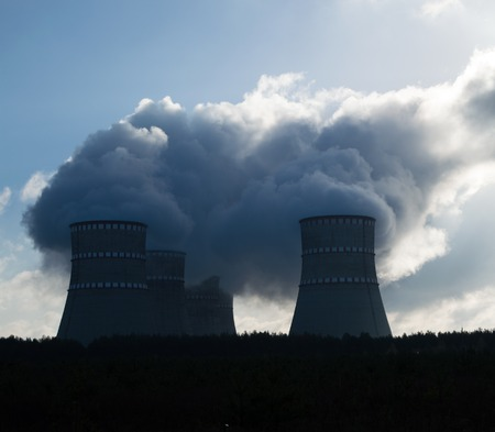 riesgo quimico: nuclear power plant, the clouds in the sky. Ukraine