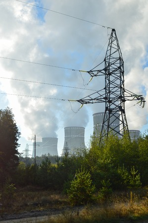 atmosphere construction: nuclear power plant, the clouds in the sky. Ukraine