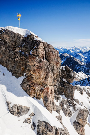 Beautiful Blue Sky at Zugspitze, Germany. Stock Photo