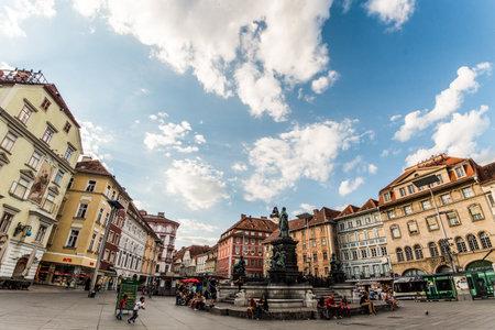 Graz Hauptplaz Erzherzog Johann Brunnen fountain town hall Austria Styria
