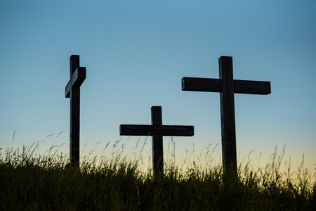 Three crosses on a hill high contrast