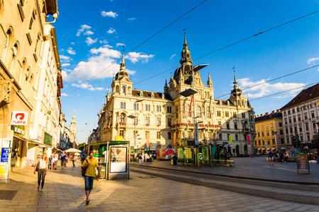Graz, Styria / Austria - 07 09 2016 : View on Town hall on Hauptplatz city square and Herrengasse main street in the city center. Summer sun