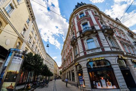 Graz, Styria  Austria - 09 02 2016 : View on Stubenberggasse street from Herrengasse street. Tchibo enduscho building