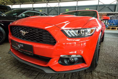 Graz, Styria / Austria - 11 09 2016: US cars rally, event near Graz city, One of the cars attending red Ford mustang GT