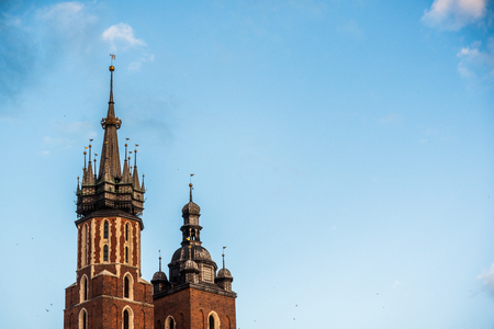 Cracow, Malopolska: View at city square medieval tower in summer. Travel destination