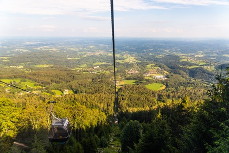View from Gondola lift in Schockl Graz, Austria on the way up
