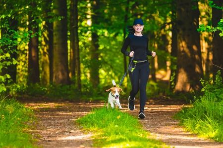 Girl running with dog outdoors in nature on a path in forest. Sunny day countryside. Copy space for text Stock Photo
