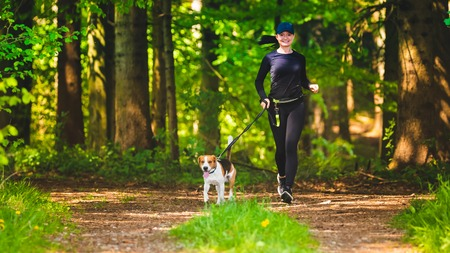 sport girl is running with a dog (Beagle) at the spring sunny day on the forest path. Copy space in nature
