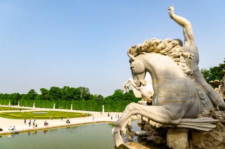 Vienna, Austria 30.04.2013 View at famous Schonbrunn Palace fountain with Great Parterre garden. Tourist destination