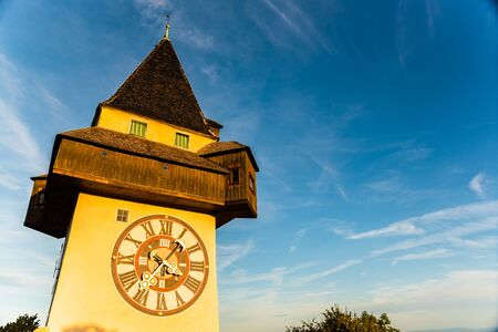 View at famous Clock Tower Uhrturm at Schlossberg hill. Travel destination. Copy space